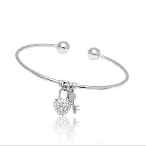NIB Heart & Key Swarovski crystal charm cuff